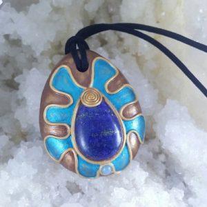 Pandnativ unicat cu lapis lazuli si ceramica fotografie Elvero